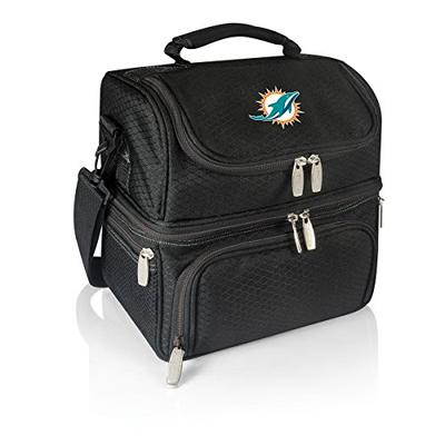 PICNIC TIME NFL Miami Dolphins Pranzo Insulated Lunch Tote with Service for One, Black