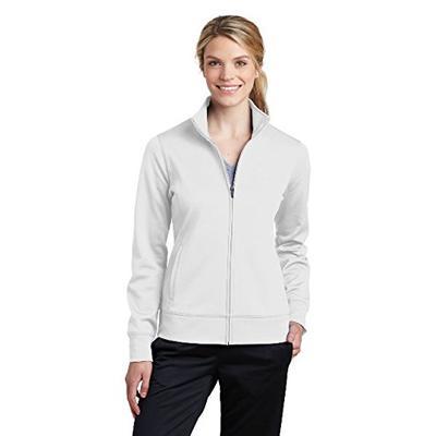 Sport-Tek Women's Sport-Wick Fleece Full-Zip Jacket LST241, White, X-Large