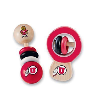 MasterPieces NCAA Utah Utes Real Wood Baby Rattles (2-Pack)