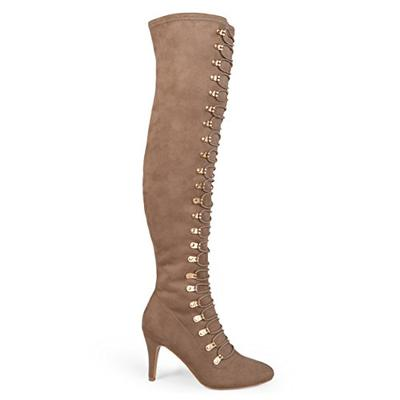 Brinley Co. Womens Regular and Wide Calf Vintage Almond Toe Over-The-Knee Boots Taupe, 8 Regular US